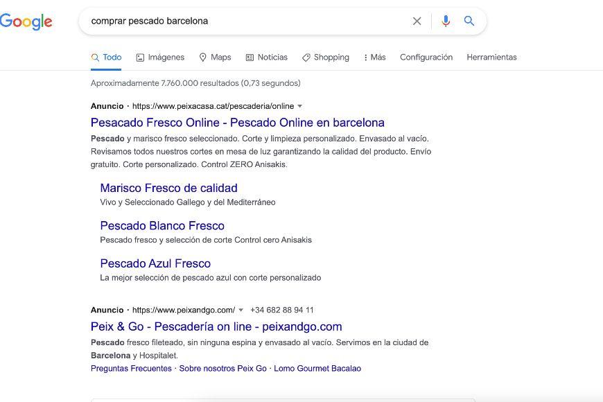 Ejemplo de anuncio de búsqueda en Google Ads