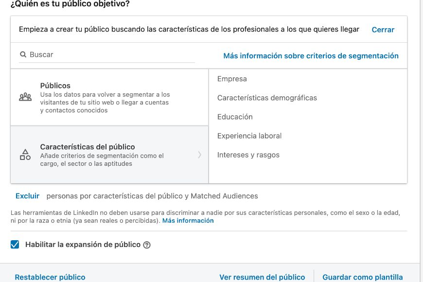 LinkedIn Ads Audiencias