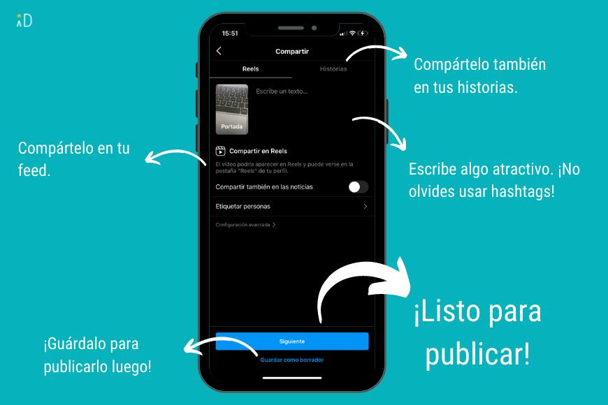 Visibilidad en Instagram - Descripción de funcionalidades del reel